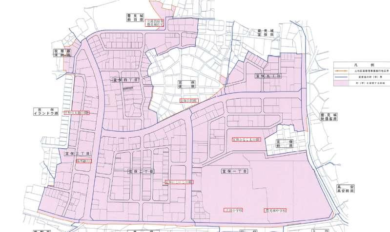 沖縄県豊見城市2018年2月24日区画整理事業住所変更区域図他1