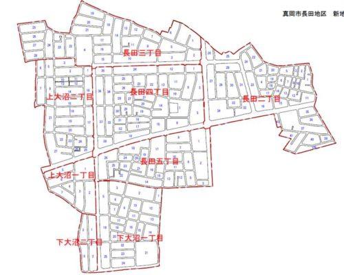 栃木県真岡市2018年6月30日区画整理事業住所変更区域図他1