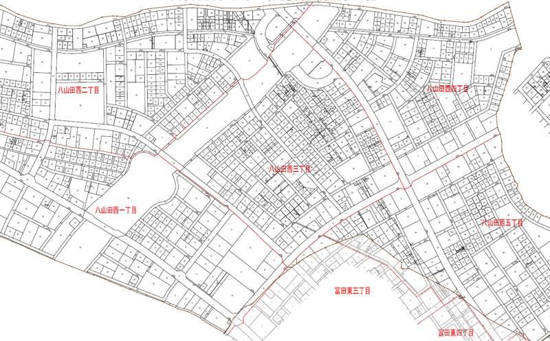 福島県郡山市2018年8月18日区画整理事業住所変更区域図他1