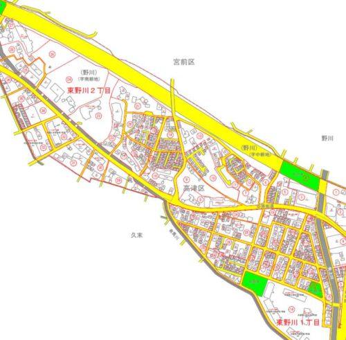 神奈川県川崎市高津区2018年11月5日住居表示住所変更区域図他1