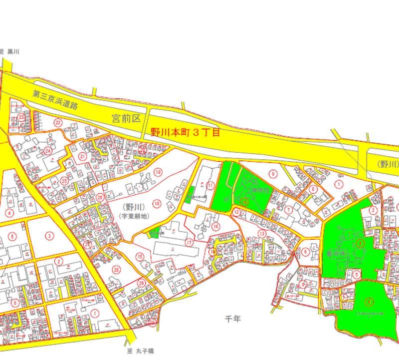 神奈川県川崎市宮前区2018年11月5日住居表示住所変更区域図他1