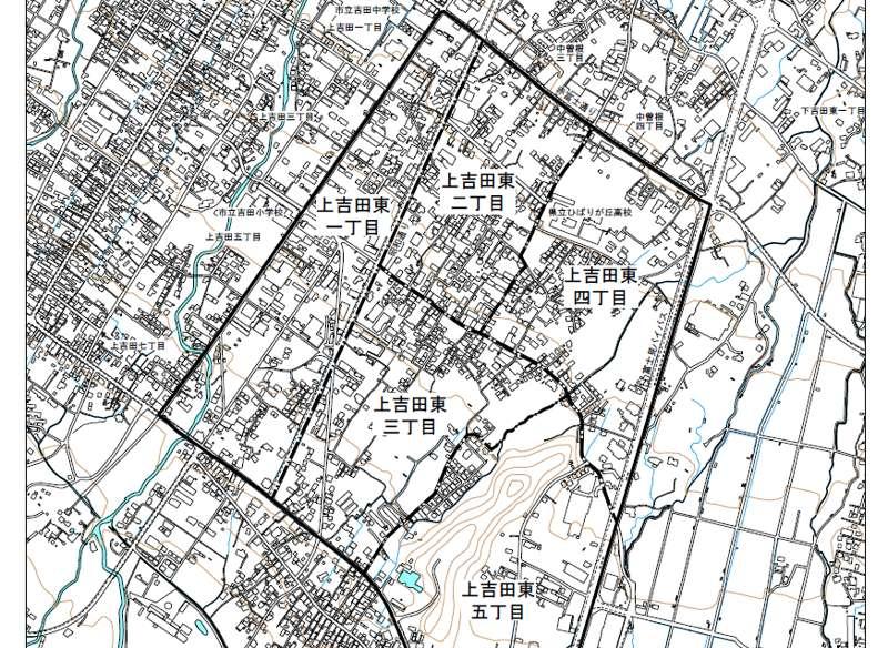 山梨県富士吉田市2018年10月29日住居表示住所変更区域図他1