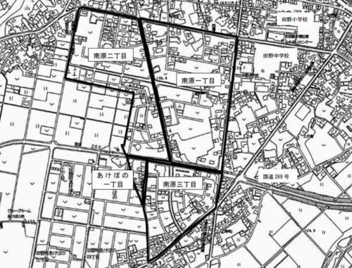 宮崎県宮崎市2018年10月15日区画整理事業住所変更区域図他1