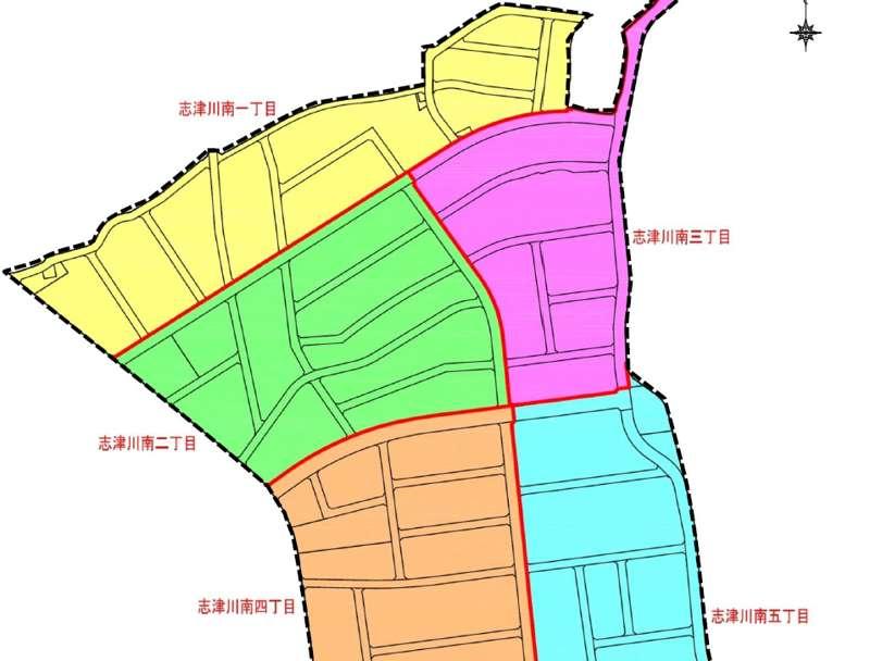 愛媛県東温市2018年12月1日区画整理事業住所変更区域図他1