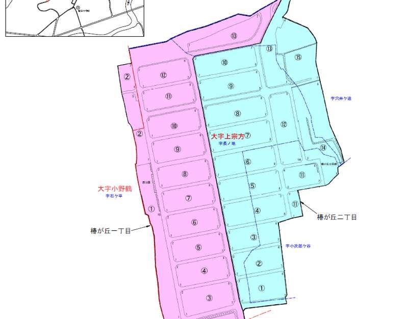 大分県大分市2019年1月12日住居表示住所変更区域図(椿が丘)