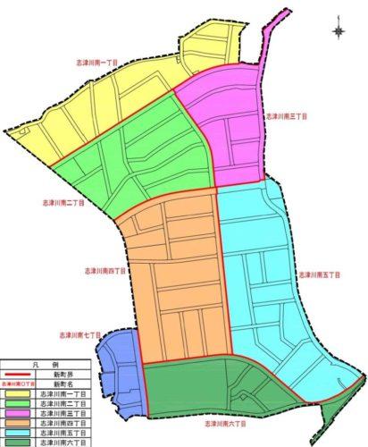 愛媛県東温市2018年12月1日区画整理事業住所変更区域図