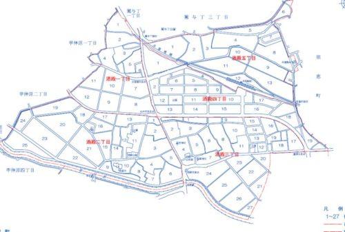 福岡県糟屋郡粕屋町2019年11月30日住居表示住所変更区域図他21205*