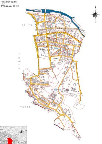 福岡県糟屋郡篠栗町2020年10月10日住居表示住所変更区域全体図